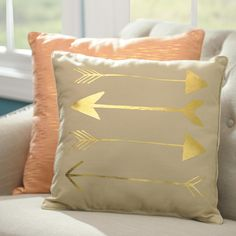 We love unique accent pillows! This Metallic Gold Arrow Pillow has a stylish, fun design in bright gold detail.