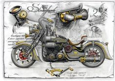 Just a car guy : steampunk design in motorcycles Design Steampunk, Steampunk Motorcycle, Steampunk Drawing, Steampunk Kunst, Motorcycle Posters, Retro Motorcycle, Motorcycle Images, Art Moto, Carros Vintage