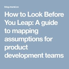 How to Look Before You Leap: A guide to mapping assumptions for product development teams