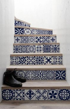 10 Strips of Stair Riser Moroccan Removable Sticker Skin and Stick Stair Decor Stair Decals Removable Star Elevator Decals S 9 Staircase Decals, Staircase Design, Staircase Decoration, Stair Decor, Tile Stairs, Stair Risers, Portuguese Tiles, Moroccan Decor, Stairways