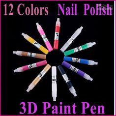 Wholesale 12 Colors Nail Tools Magical 3D Paint Art Pen UV Gel Acrylic Nail Art Polish Set, Free shipping, $10.35-15.35/Set | DHgate Nail Art Pen, Nail Art Tools, Nail Polish Painting, Buy Smartphone, Gel Acrylic Nails, Smart Bracelet, Painting Tools, Paint Pens, Uv Gel