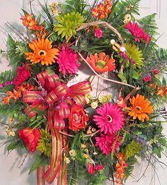 XL Front Door Wreath Bright Gerber Daisies by LadybugWreaths, $169.97