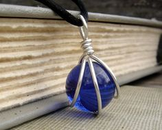 Cobalt Blue Glass Marble Pendant  Wire by nicholasandfelice