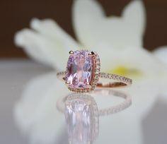 2.97ct cushion lavender peach champagne sapphire 14k rose gold diamond ring engagement ring