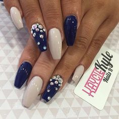Nude and Navy Blue Coffin Nails with Rhinestones