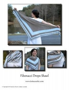 The Fibonacci Drops Shawl, Knit Eco Chic's debut release, emboldens mathematicians world-wide by squaring the Fibonacci sequence.  Appearing in both the striped sequence and drop stitch sequence, the Fibonacci sequence brings the innate beauty of the golden ratio to this triangular shawl design.  The simplicity of the design makes this versatile shawl the perfect accessory for spring and summer.
