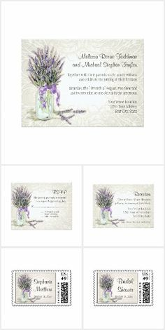 French Lavender | Elegant Lace | Romantic Mason Jar Bouquet  Modern romance colors this stylish, simple yet pretty wedding invitation collection.  A  hand watercolored bouquet of French lavender was painted from life in watercolors after being gathered from a field near Audrey Jeanne's home.  Perfect for the rustic outdoor garden wedding theme that has a touch of elegance and sophistication.  #french #lavender #lace #masonjar #rustic #outdoor #country #garden #wedding #invitations…