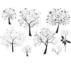 Zentangle Trees: Digital Stamps, Trees, Digi Stamps, Stylized Trees #craftyfolk