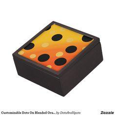 Customizable Dots On Blended OrangeToYellow Premium Keepsake Box