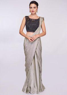 7c699c87374 Grey satin pre stitched saree with ready pleats and draped pallo only on  Kalki Jennifer Winget