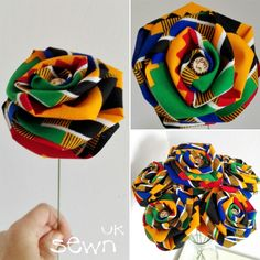 Flowers that last! Brighten up your day with these beautifully handmade fabric roses, available in a range of African Kente print colours, sold singly or in sets of 6 or Ideal for gifts, weddings, table centrepiece African Wedding Theme, African Theme, Traditional Wedding Decor, African Traditional Wedding, African Accessories, African Jewelry, African Drawings, African Home Decor, Fabric Flower Tutorial