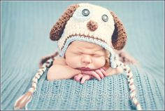 Crochet Baby Blue and Cream Scrappy Puppy Earflap Hat - Photo Prop - made to order on Etsy, $18.99