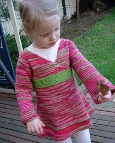 Oriental Lily Dress Pattern - Another all-in-one knitting pattern for babies/toddlers