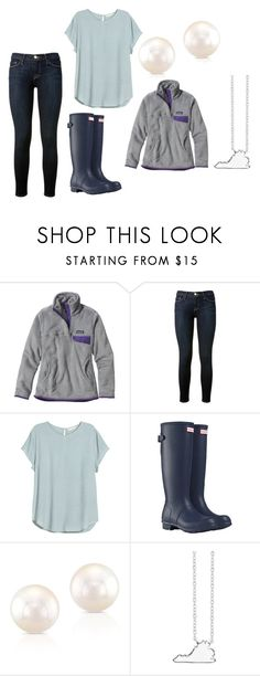 """""""Rainy for Days"""" by mbeltrand on Polyvore featuring Patagonia, Frame Denim, H&M, Hunter, Unwritten, women's clothing, women's fashion, women, female and woman"""