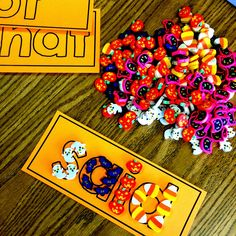 Sight word activities: Another fun way for kiddos to do word work for Daily 5 or just practice. She printed off her Play-doh sight word cards on orange paper and then had children form the words with seasonal erasers that she bought at Target's Dollar spot. Cute idea.
