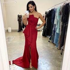 Red Long Evening Dresses 2020 Strapless Slit Satin Sexy Mermaid Arabic Women vestidos Custom Plus Size Prom Dress Formal Gowns Plus Size Gowns, Plus Size Prom Dresses, Wine Bridesmaid Dresses, Formal Gowns, Dress Formal, Full Length Gowns, Arab Women, Cheap Evening Dresses, Maternity Gowns