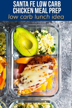 With cilantro lime cauliflower rice and taco-seasoned chicken breast, these Santa Fe meal prep bowls have just 8 g net carbs, yet still fill you up. #sweetpeasandsaffron #mealprep #chicken Healthy Meals For One, Healthy Pastas, Healthy Meal Prep, Healthy Foods To Eat, Healthy Eating, Keto Meal, Healthy Lunches, Healthy Cooking, Low Carb Meal Plan
