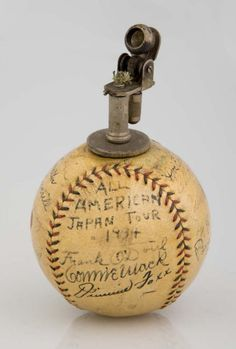 All American Japan Baseball Tour autographed baseball lighter signed by Connie Mack, Babe Ruth, Lou Gerhig, Jimmie Foxx, and other players on the tour, 1934