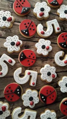 Last minute order by a Kiddies party planner for some ladybug themed biscuits. Made and decorated and delivered by the same afternoon! Ladybug Cookies, Ladybug Cupcakes, Ladybug Food, Ladybug 1st Birthdays, First Birthdays, Ladybug Birthday Cakes, Festa Lady Bag, Bolo Laura, Ben E Holly