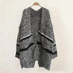 Cotton Sweater Coat, striped, black, Size:Free Size - yyw.com