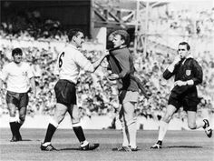 Dave Mackay grabs Billy Bremner from Leeds by his shirt in match against Tottenham at White Hart Lane, London, 1966