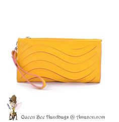 SUNSHINE YELLOW - A cute and trendy clutch style wallet purse, with a wave laser cut detailing. Great for casual daytime fashion wear. Optional shoulder strap. $13.99 on Amazon.com. #clutches #wallets #purses #lasercut