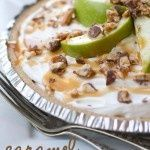 The most AMAZING {nobake} pie! Caramel, apples, snickers and delicious whipped topping!