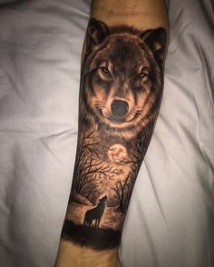 My first tattoo, wolf and forrest on forearm