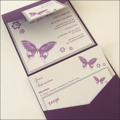 Scab... Show this to Mum! Pocketfold Wedding Invitations finished with butterflies and crystals.