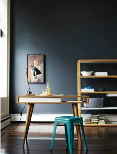 Celine Desk with bright turquoise Tolix Marais stool.