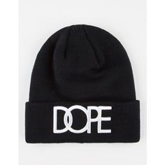 DOPE Logo Cuff Beanie ($20) ❤ liked on Polyvore featuring men's fashion, men's accessories, men's hats and black