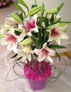 Lillies in a special mother's day arrangement