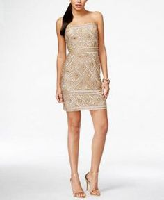 Adrianna Papell Strapless Beaded Shift Dress - from Best Dressed Guest: What to Wear to a Summer Wedding - RegistryFinder.com