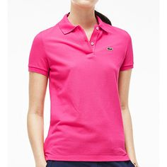 Lacoste PF6958-51 Short Sleeve 2 Button Classic Fit Pique Polo ($70) ❤ liked on Polyvore featuring tops, polo tops, pink polo shirts, lacoste, polo shirts and pink top