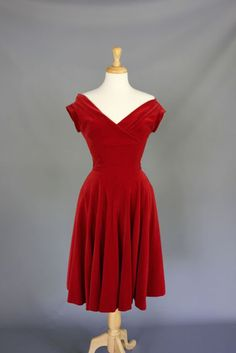 Stunning 1950s - 1960s Red Velvet Dress from waywardvintage on Ruby Lane