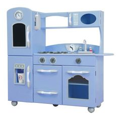 Your little chef will love the Teamson Kids Classic Play Kitchen in Serenity Blue Kids Wooden Play Kitchen, Toddler Kitchen, Kitchen Sets For Kids, Toy Kitchen, Kitchen Playsets, Play Kitchens, Bright Kitchens, Sous Vide Stick, Modern Country Kitchens