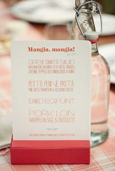 Menu cards to have on the family style table so everyone knows the yummy food we're eating!