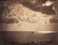 Gustave Le Gray - Paisaje Romántico del Mar, otro ejemplo de fotomontaje (se podía llegar a montar 30 negativos, para obtener este positivo), caracteriza el viñeteado negro.