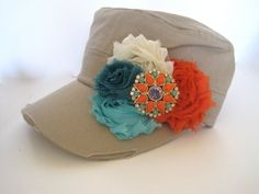 Khaki Cadet Military Distressed  Army Hat with Turquoise Orange and Ivory Shabby Chiffon Flowers and Gorgeous Matching Pendant Accent