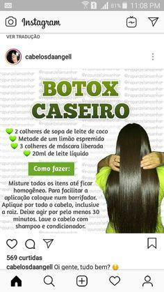 Botox caseiro Natural Hair Care, Natural Hair Styles, Hair Gloss, Hair Care Recipes, Lace Hair, Bad Hair Day, Beauty Recipe, How To Make Hair, Diy Hairstyles