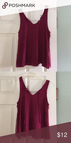 Lauren Conrad purple/pink tank top NWOT tank top with lace overlay. Back has ties with v neck. Front has scoop neck. Larger in the armpits. LC Lauren Conrad Tops Tank Tops
