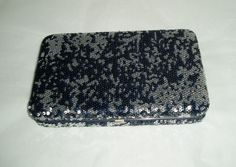 Sequin clutch  retro evening bag  blue clutch  by DivaDecades