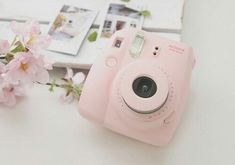 Pastel pink polaroid camera- Totes want this for a b-day gift!