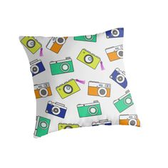 Retro Camera by Linecircle Co #retro #pillow #camera #pattern #redbubble #linecircle #LinecircleApparel