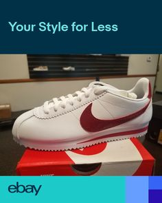 1ff3291e85f3a6 BRAND NEW WOMEN WM NIKE CORTEZ WHITE LEATHER RUNNING SHOES WHITE RED  807471-108