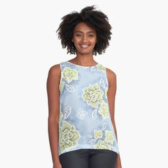 'Design 154 blue olive green floral' Sleeveless Top by artbylucie Olive Green, Chiffon Tops, Tank Man, Floral Design, Classic T Shirts, Printed, Awesome, Clothing, Mens Tops