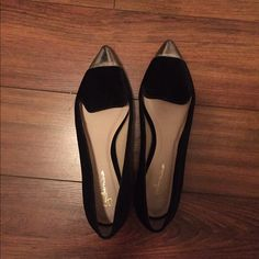 Anthropologie black velvet smoking slippers Anthropologie black velvet loafers, with silver caps. Very beautiful, just too small. Worn once and great condition Anthropologie Shoes Flats & Loafers