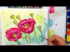 Poppies in Watercolor Tutorial // cheap supply challenge! - YouTube