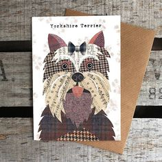 These unique greetings cards feature the quirky, characterful dog illustrations by artist Simon Hart. Created with collage using traditional Harris Tweeds and vintage papers.The 38 Breeds of dog currently available are: Airedale, Basset hound, Beagle, Bichon Frise, Border collie, Border terrier, Boston terrier, Boxer, Chihuahua, Cocker spaniel, Corgi, Dachshund, Dalmatian, English Bull terrier, Wire Fox terrier, French bulldog, German Shepherd, Golden retriever, Great Dane, Greyhound, Husky…