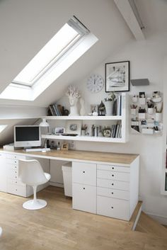 White workspace #home #office #studio #white #birch #desk #gallery #wall #shelves #open #skylight